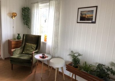 A chair, small table, stool, dresser, picture on the wall, flower pots, and window