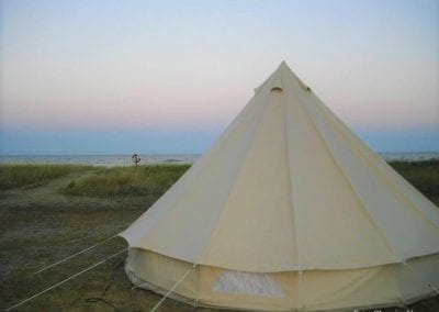 Large enclosed tent, which stands on the beach